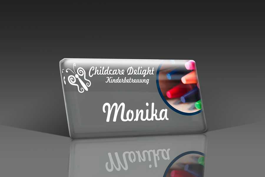 acrylic name badge nanf with logo slogan in 5c and name printing